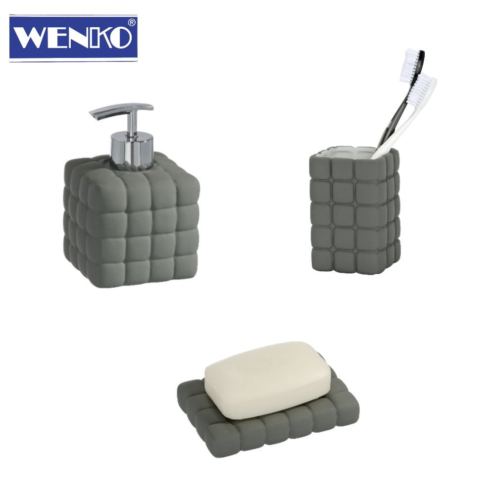 wenko 3er bad wc set cube grau keramik seifenspender. Black Bedroom Furniture Sets. Home Design Ideas